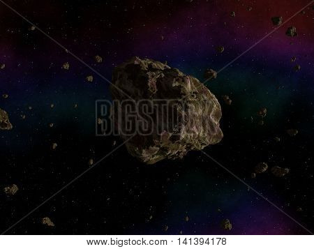 Asteroid stone on sky in deep outer space