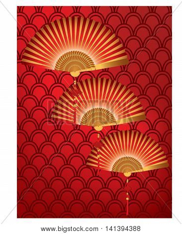 Red Chinese fan on a red pattern background