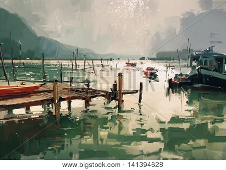 digital painting showing jetty and fishing boats at harbor