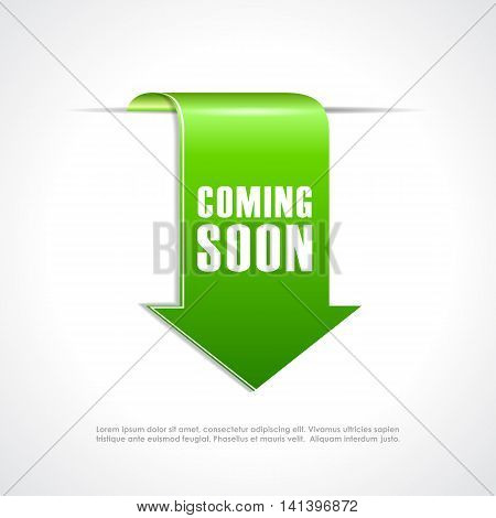 Coming soon green arrow ribbon isolated on white background