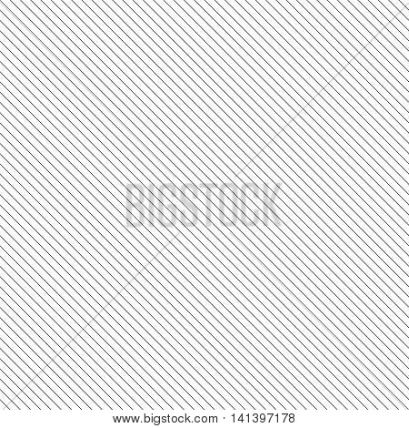 Diagonal lined seamless pattern. Repeating texture with black thin parallel straight lines on white background. Vector illustration. poster