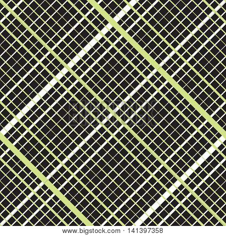 Intersecting diagonal lined seamless pattern. Repeating mesh texture with perpendicular crossing lines and stripes on dark background. Grid checkered vector illustration.