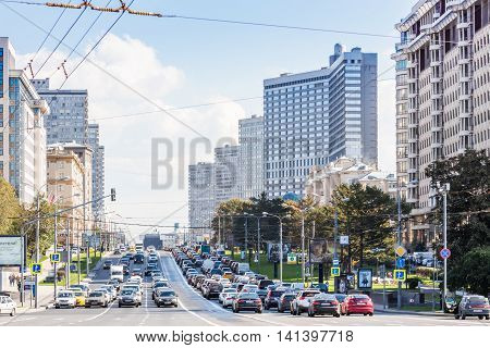 MOSCOW - SEPTEMBER 15 2015: Heavy traffic on New Arbat Street. The modern six-lane avenue was constructed between 1962 and 1968.