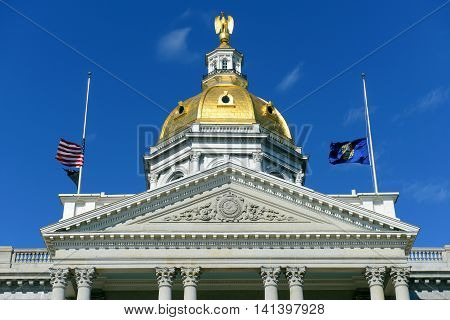 New Hampshire State House, Concord, New Hampshire, USA. New Hampshire State House is the nations oldest state house, built in 1816 - 1819. poster
