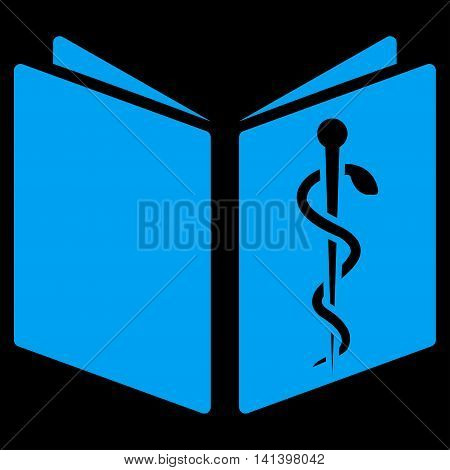 Drug Handbook vector icon. Style is flat symbol, blue color, rounded angles, black background.