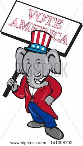 Illustration of an American Republican GOP elephant mascot standing wearing suit and stars and stripes hat holding placard sign with the words Vote America set on isolated white background done in cartoon style.
