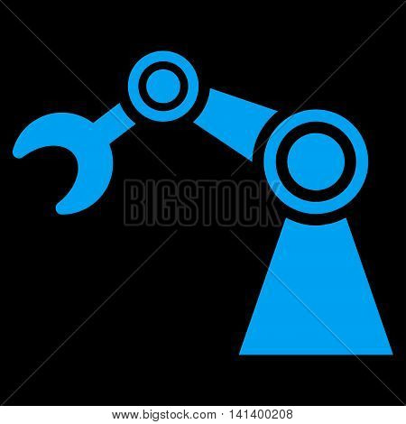 Manipulator vector icon. Style is flat symbol, blue color, rounded angles, black background.