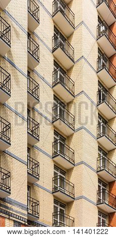 New modern multistorey apartment building with balconies