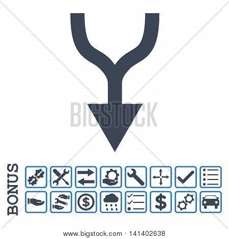 Combine Arrow Down icon with bonus pictograms. Vector style is flat iconic symbol, smooth blue colors, white background. Bonus style is bicolor square rounded frames with symbols inside.