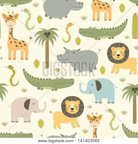 Safari animals seamless pattern with cute hippo, crocodile, lion, elephant and giraffe. Vector texture in childish style great for fabric and textile, wallpapers, backgrounds, cards design