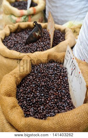 A sack of Ethiopian coffee beans on sale in the market