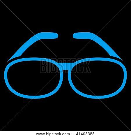 Spectacles vector icon. Style is flat symbol, blue color, rounded angles, black background.