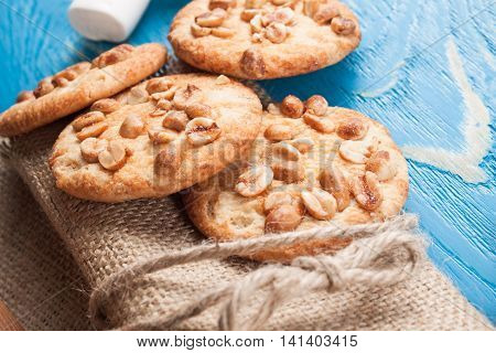Cookies with peanuts on wooden boards. Home baking
