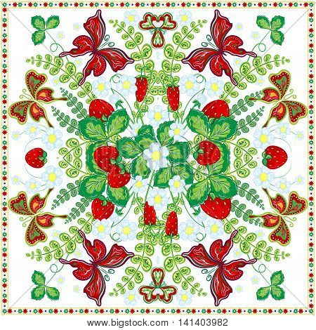Decorative color floral background, strawberry and butterfly pattern and ornate lace frame. Bandanna shawl fabric print, silk neck scarf, kerchief design, vector illustration. Fruit square decoration
