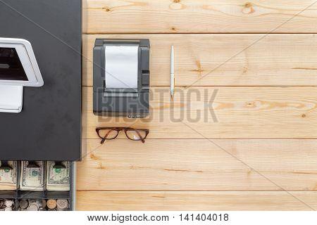 Business Cash Register On A Clean Desk