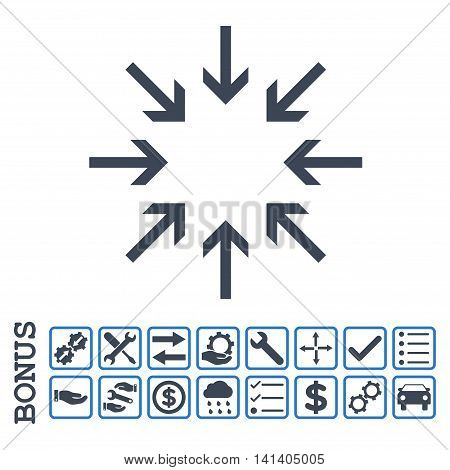 Pressure Arrows icon with bonus pictograms. Vector style is flat iconic symbol, smooth blue colors, white background. Bonus style is bicolor square rounded frames with symbols inside.