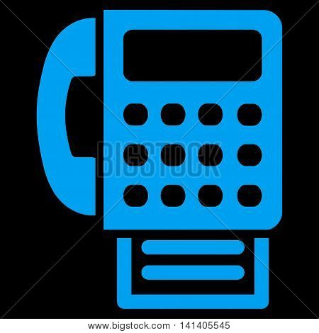Fax vector icon. Style is flat symbol, blue color, rounded angles, black background.