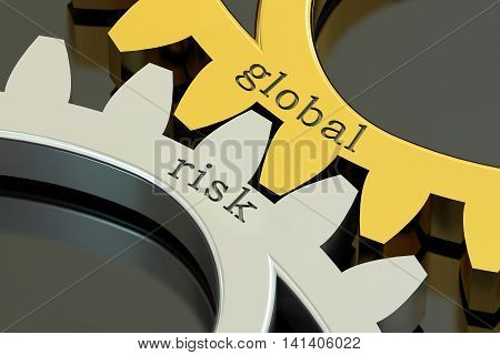 Global Risk concept on the gearwheels 3D rendering