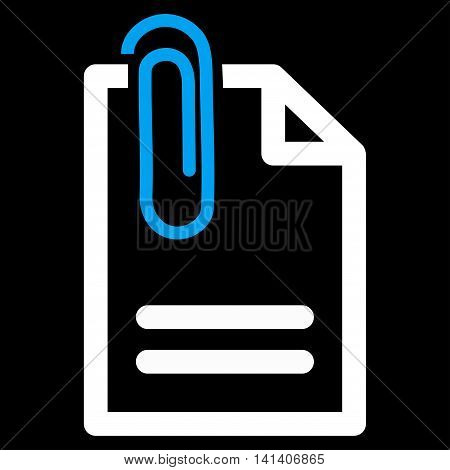 Attach Document vector icon. Style is bicolor flat symbol, blue and white colors, rounded angles, black background.