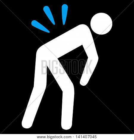 Backache vector icon. Style is bicolor flat symbol, blue and white colors, rounded angles, black background.