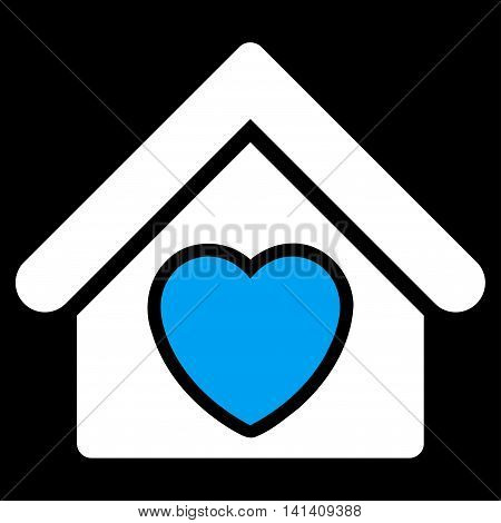 Hospice vector icon. Style is bicolor flat symbol, blue and white colors, rounded angles, black background.