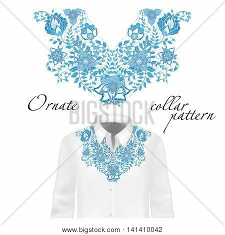 Vector design for collar shirts, shirts, blouses. Colorful ethnic flowers neck. Paisley decorative border. Ornate collar pattern. Blue.