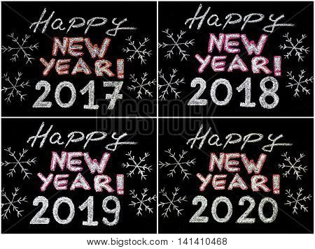 Happy new year 2017 2018 2019 2020 hand writing with chalk on blackboard vintage concept. Photo collage