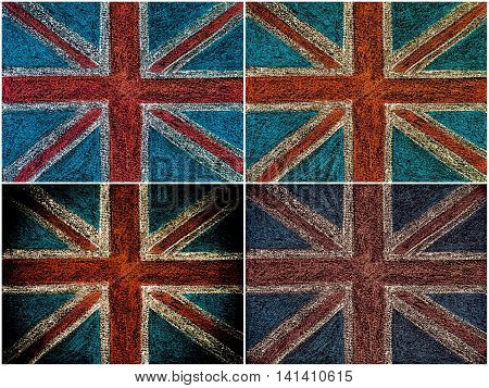 Photo collage of United Kingdom British Union jack flag hand drawing with chalk on blackboard vintage concept