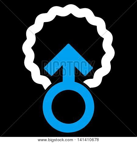 Ovum Penetration vector icon. Style is bicolor flat symbol, blue and white colors, rounded angles, black background.