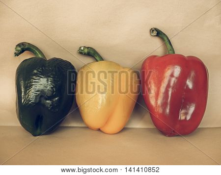 Yellow Green And Red Peppers Vegetables Vintage Desaturated