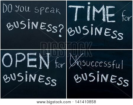 Photo Collage Of Business Messages Written With White Chalk On Blackboard, Business Learning Concept