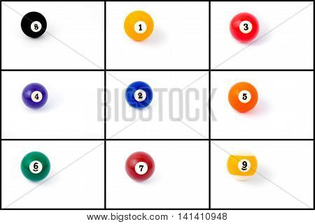 Photo collage of billiard balls from one to nine isolated on white background