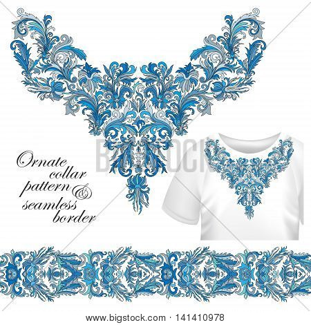 Neckline embroidery fashion, print, decor, lace, paisley, stock vector. Luxury flowers collar designe. Seamless border bonus. Blue