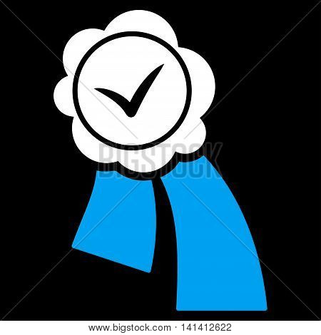 Validation Seal vector icon. Style is bicolor flat symbol, blue and white colors, rounded angles, black background.