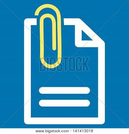 Attach Document vector icon. Style is bicolor flat symbol, yellow and white colors, rounded angles, blue background.