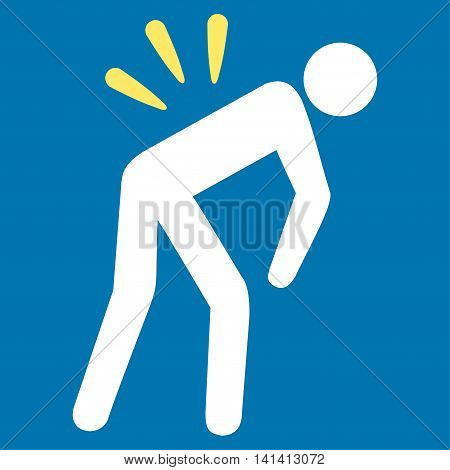 Backache vector icon. Style is bicolor flat symbol, yellow and white colors, rounded angles, blue background.