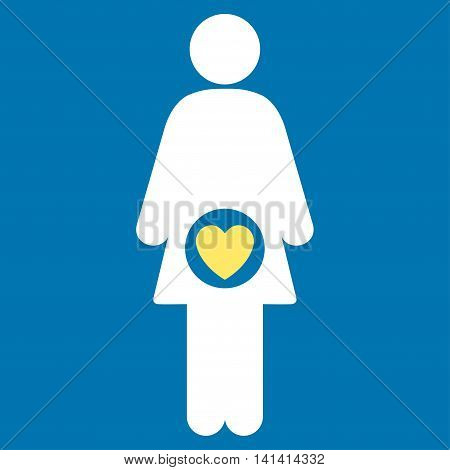 Fertility vector icon. Style is bicolor flat symbol, yellow and white colors, rounded angles, blue background.