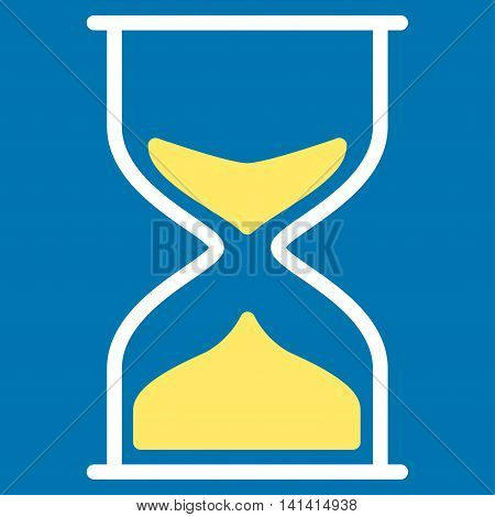 Hourglass vector icon. Style is bicolor flat symbol, yellow and white colors, rounded angles, blue background.