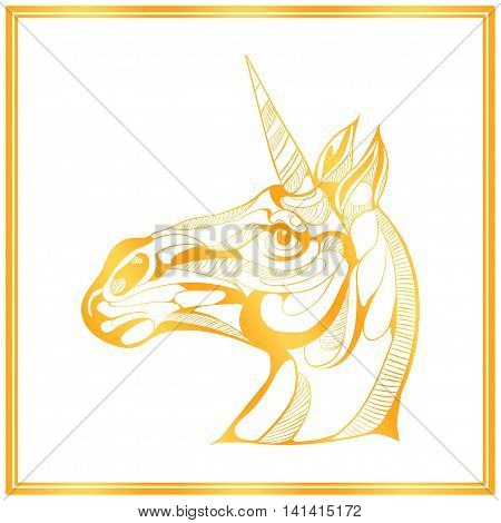 golden card with unicorn head on white background