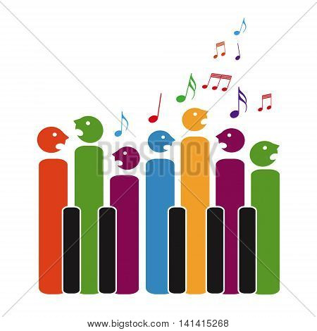 Choir of piano keys isolated on white background