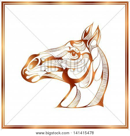 Vector image of a bronze horse on white background.