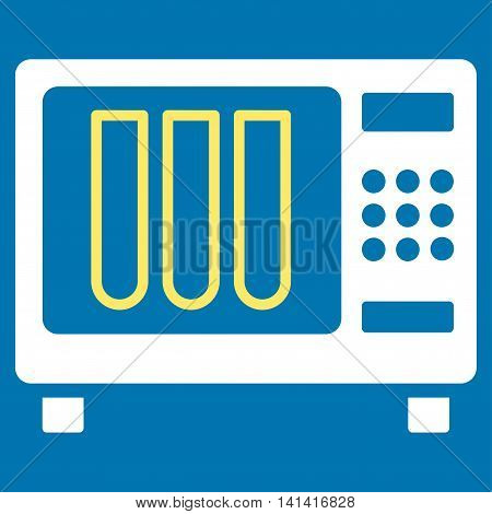 Sterilizer vector icon. Style is bicolor flat symbol, yellow and white colors, rounded angles, blue background.