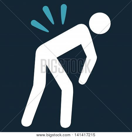 Backache vector icon. Style is bicolor flat symbol, blue and white colors, rounded angles, dark blue background.