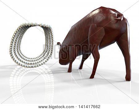 Throwing pearls before swine 3d rendering poster