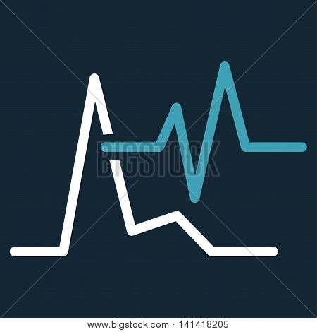 Ecg vector icon. Style is bicolor flat symbol, blue and white colors, rounded angles, dark blue background.