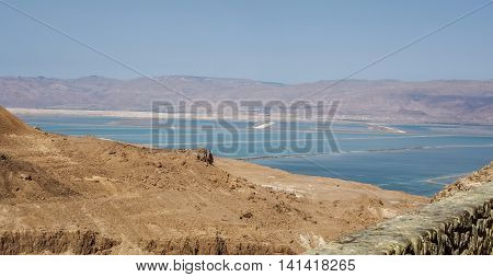 View of the desert and the Dead Sea from fortress of Masada in the Judean Desert Israel