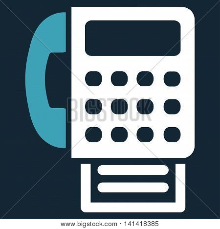 Fax vector icon. Style is bicolor flat symbol, blue and white colors, rounded angles, dark blue background.