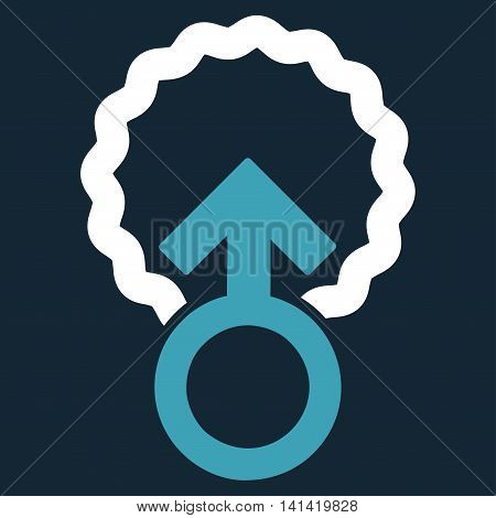 Ovum Penetration vector icon. Style is bicolor flat symbol, blue and white colors, rounded angles, dark blue background.