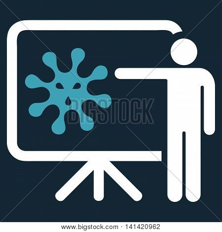 Virus Report vector icon. Style is bicolor flat symbol, blue and white colors, rounded angles, dark blue background.