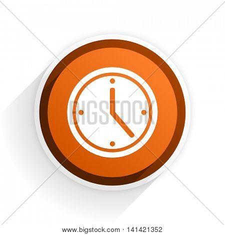 time flat icon with shadow on white background, orange modern design web element